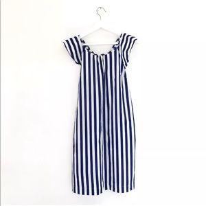 J.Crew flutter v-back blue striped cotton dress